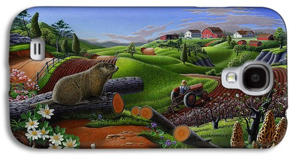 Farm Folk Art - Groundhog Spring Appalachia Landscape - Rural Country Americana - Woodchuck Galaxy S4 Case by Walt Curlee
