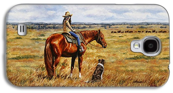 Horse Painting - Waiting For Dad Galaxy S4 Case by Crista Forest