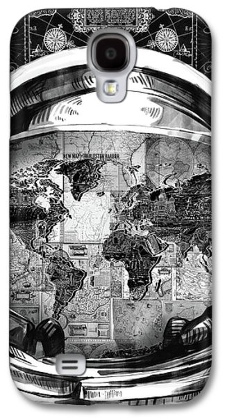 Astronaut World Map 1 Galaxy S4 Case