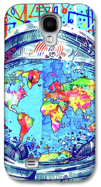 Astronaut World Map 2 Galaxy S4 Case