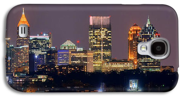 Downtown Galaxy S4 Case - Atlanta Skyline At Night Downtown Midtown Color Panorama by Jon Holiday