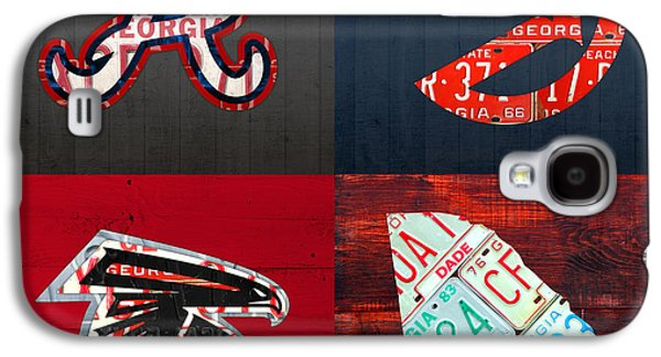 Atlanta Sports Fan Recycled Vintage Georgia License Plate Art Braves Hawks Falcons Plus State Map Galaxy S4 Case
