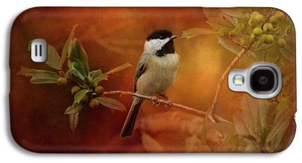 Autumn Day Chickadee Bird Art Galaxy S4 Case by Jai Johnson