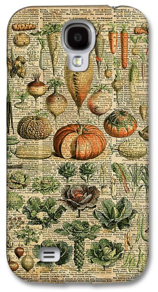 Autumn Fall Vegetables Kiche Harvest Thanksgiving Dictionary Art Vintage Cottage Chic Galaxy S4 Case