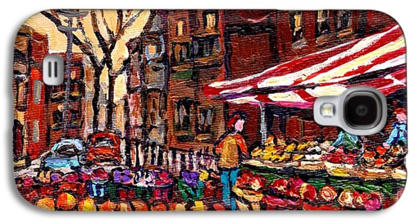 Autumn In The City Outdoor Market Small Format Paintings For Sale Best Montreal Art Carole Spandau Galaxy S4 Case by Carole Spandau