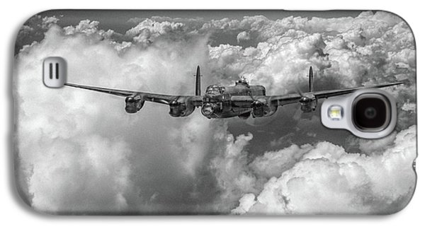 Galaxy S4 Case featuring the photograph Avro Lancaster Above Clouds Bw Version by Gary Eason