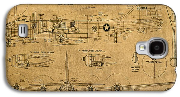 B29 Superfortress Military Plane World War Two Schematic Patent Drawing On Worn Distressed Canvas Galaxy S4 Case by Design Turnpike