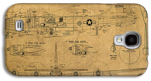 B29 Superfortress Military Plane World War Two Schematic Patent Drawing On Worn Distressed Canvas Galaxy S4 Case