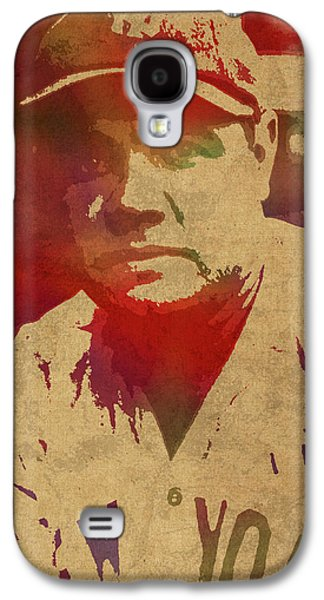 Babe Ruth Baseball Player New York Yankees Vintage Watercolor Portrait On Worn Canvas Galaxy S4 Case by Design Turnpike
