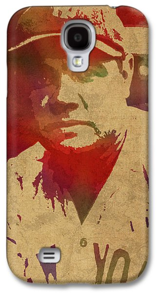 Babe Ruth Baseball Player New York Yankees Vintage Watercolor Portrait On Worn Canvas Galaxy S4 Case
