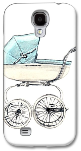 Baby Carriage In Blue - Vintage Pram English Galaxy S4 Case by Laura Row