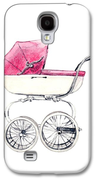Baby Carriage In Pink - Vintage Pram English Galaxy S4 Case by Laura Row