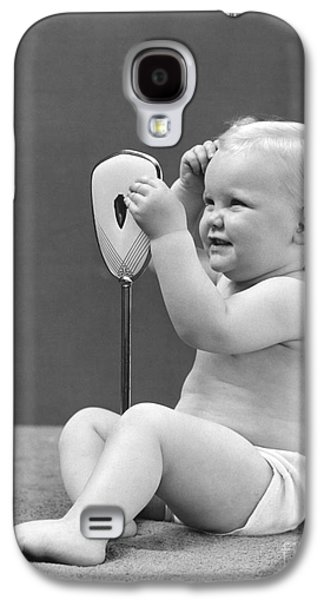 Baby Girl With Hand Mirror, 1940s Galaxy S4 Case by H. Armstrong Roberts/ClassicStock