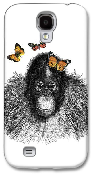 Baby Monkey With Orange Butterflies Galaxy S4 Case