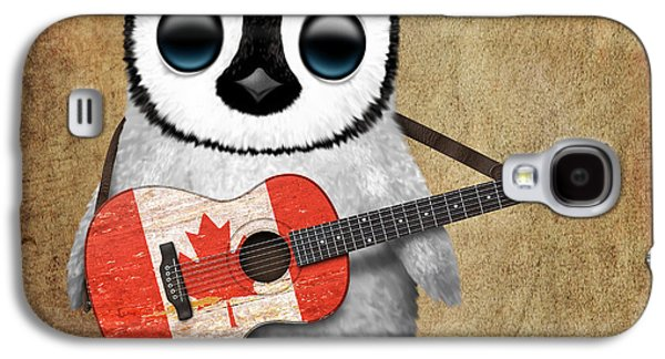 Baby Penguin Playing Canadian Flag Guitar Galaxy S4 Case