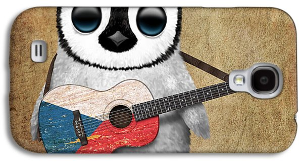 Baby Penguin Playing Czech Flag Guitar Galaxy S4 Case