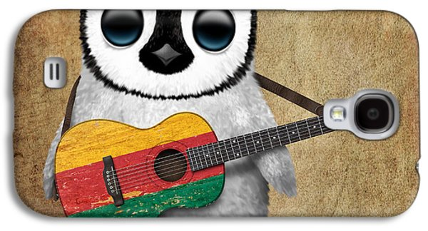 Baby Penguin Playing Lithuanian Flag Guitar Galaxy S4 Case