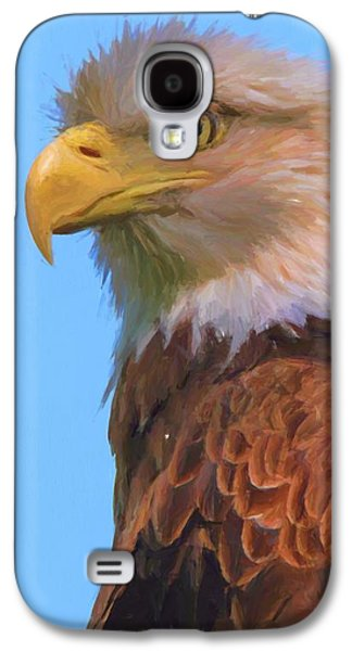 Bald Eagle On Blue Galaxy S4 Case by Dan Sproul