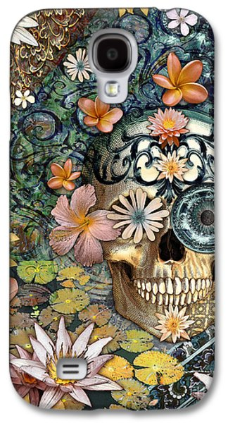 Bali Botaniskull - Floral Sugar Skull Art Galaxy S4 Case by Christopher Beikmann