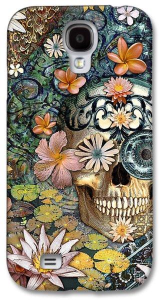 Bali Botaniskull - Floral Sugar Skull Art Galaxy S4 Case