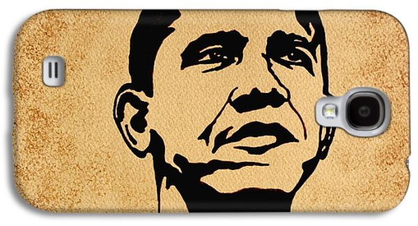 Barack Obama Original Coffee Painting Galaxy S4 Case by Georgeta  Blanaru