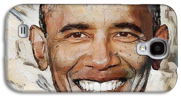 Barack Obama Portrait 1 Galaxy S4 Case by Yury Malkov