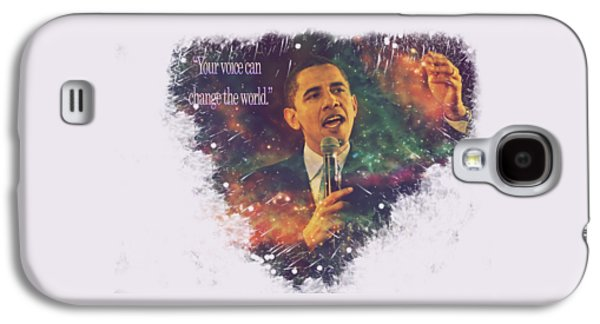Barack Obama Quote Digital Cosmic Artwork Galaxy S4 Case by Georgeta Blanaru