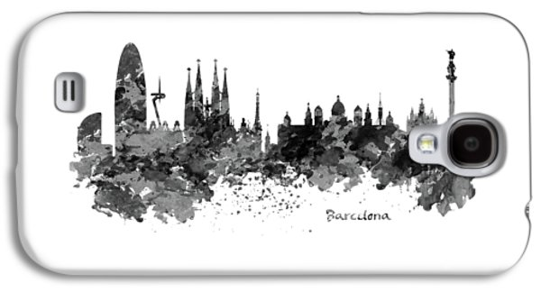 Barcelona Black And White Watercolor Skyline Galaxy S4 Case by Marian Voicu