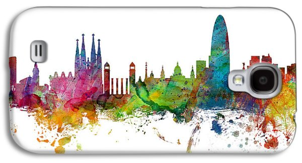 Barcelona Galaxy S4 Case - Barcelona Spain Skyline Panoramic by Michael Tompsett