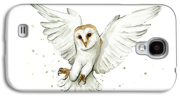 Barn Owl Flying Watercolor Galaxy S4 Case by Olga Shvartsur