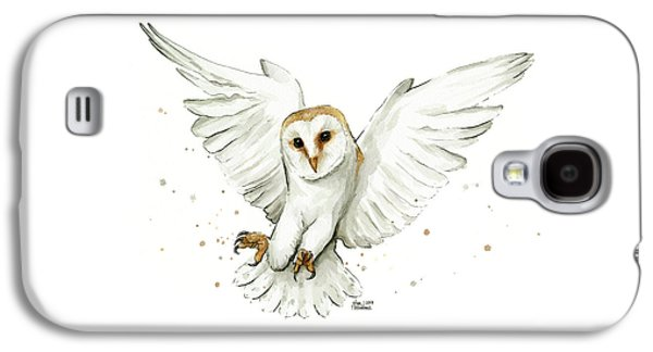 Barn Owl Flying Watercolor Galaxy S4 Case