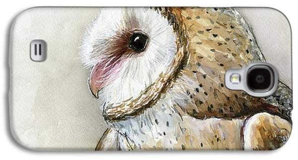 Barn Owl Watercolor Galaxy S4 Case by Olga Shvartsur