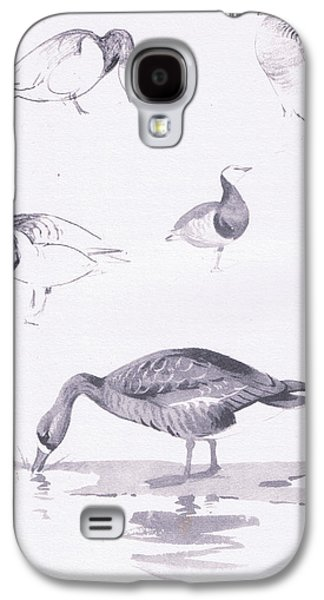 Barnacle And White Fronted Geese Galaxy S4 Case by Archibald Thorburn
