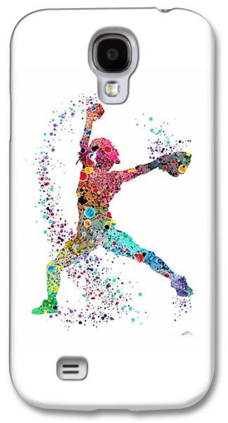 Softball Galaxy S4 Case - Baseball Softball Pitcher Watercolor Print by Svetla Tancheva