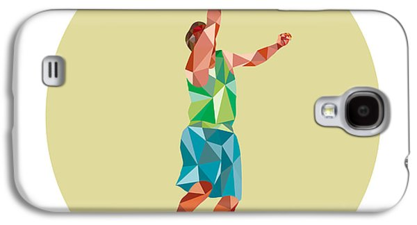 Basketball Player Lay Up Rebounding Ball Low Polygon Galaxy S4 Case