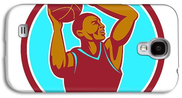 Basketball Player Rebounding Ball Circle Retro Galaxy S4 Case