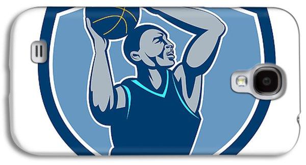 Basketball Player Rebounding Ball Crest Retro Galaxy S4 Case