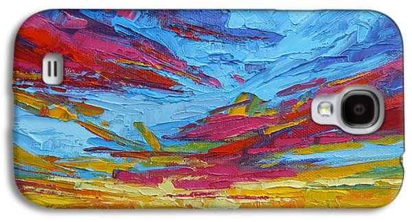 Beach Tropical Sunset Modern Impressionist Palette Knife Oil Painting Galaxy S4 Case by Patricia Awapara