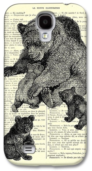 Bear And Cubs Black And White Antique Illustration Galaxy S4 Case