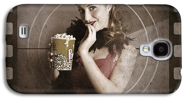 Beautiful Film Actress On Vintage Movie Screen Galaxy S4 Case by Jorgo Photography - Wall Art Gallery