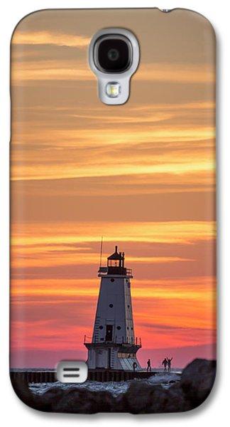 Marquette Galaxy S4 Case - Beautiful Ludington Lighthouse Sunset by Adam Romanowicz