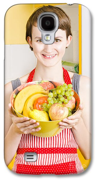 Beautiful Woman With Smile And Fresh Fruit Bowl Galaxy S4 Case by Jorgo Photography - Wall Art Gallery