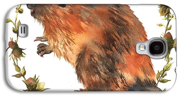 Beaver Painting Galaxy S4 Case by Alison Fennell