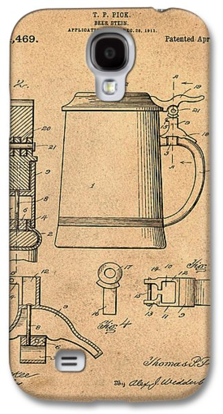 Beer Stein Patent 1914 In Sepia Galaxy S4 Case by Bill Cannon