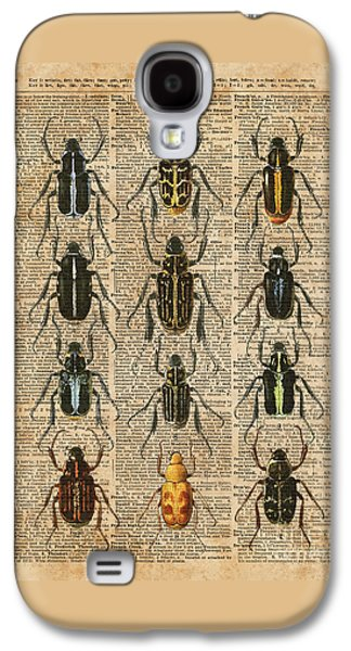 Beetles Bugs Zoology Illustration Vintage Dictionary Art Galaxy S4 Case by Jacob Kuch