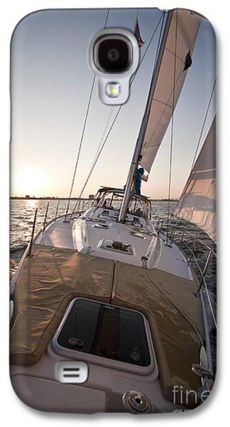 Beneteau 49 Sailing Yacht Close Hauled Charleston Sunset Sailboat Galaxy S4 Case by Dustin K Ryan