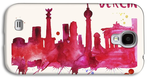 Berlin Skyline Watercolor Poster - Cityscape Painting Artwork Galaxy S4 Case