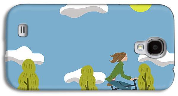 Bike Girl Galaxy S4 Case by Nicole Wilson