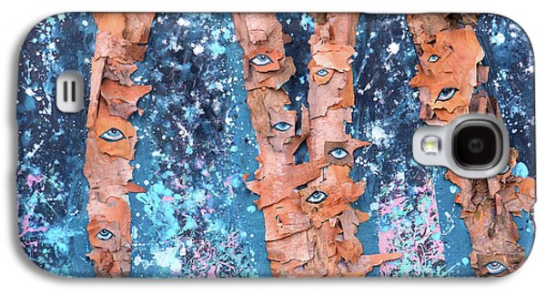 Birch Trees With Eyes Galaxy S4 Case by Genevieve Esson
