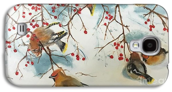 Cedar Waxing Galaxy S4 Case - Birds And Berries by Diane Donati